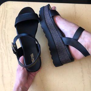 marlon leather and logo flatform sandal